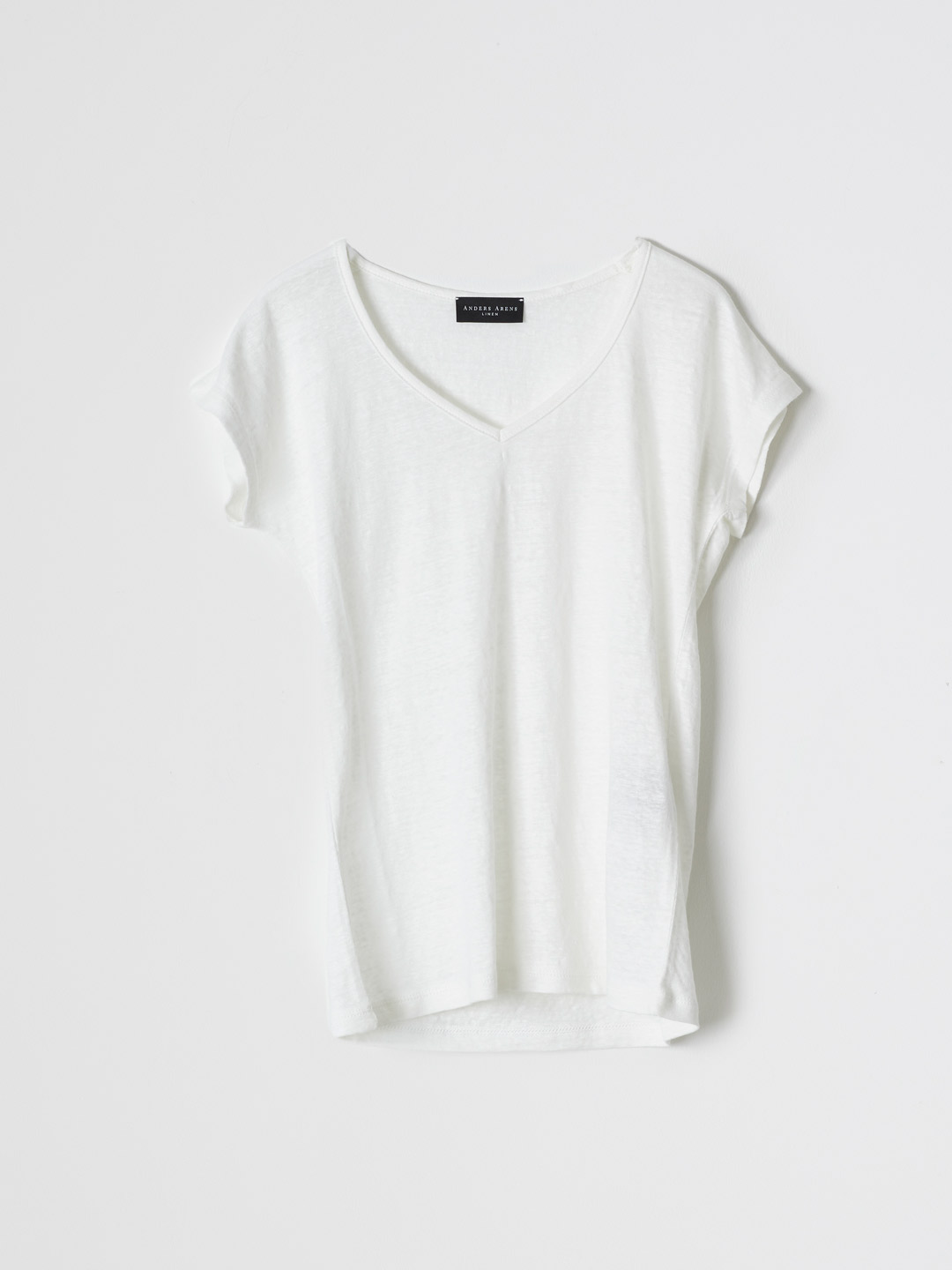 DUNES Short Sleeve V Neck T-shirt - White