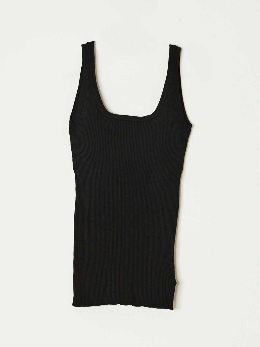 RIB KNIT TANK TOP  - Black