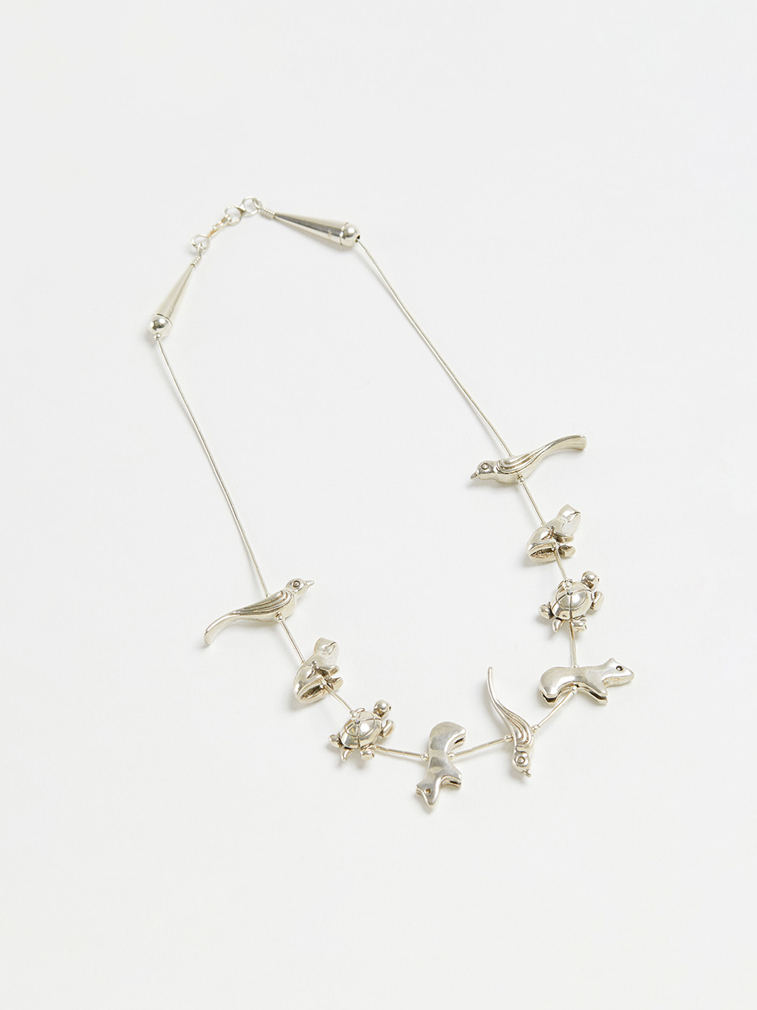 Animal Fetish Necklace - 42cm 9pcs Silver