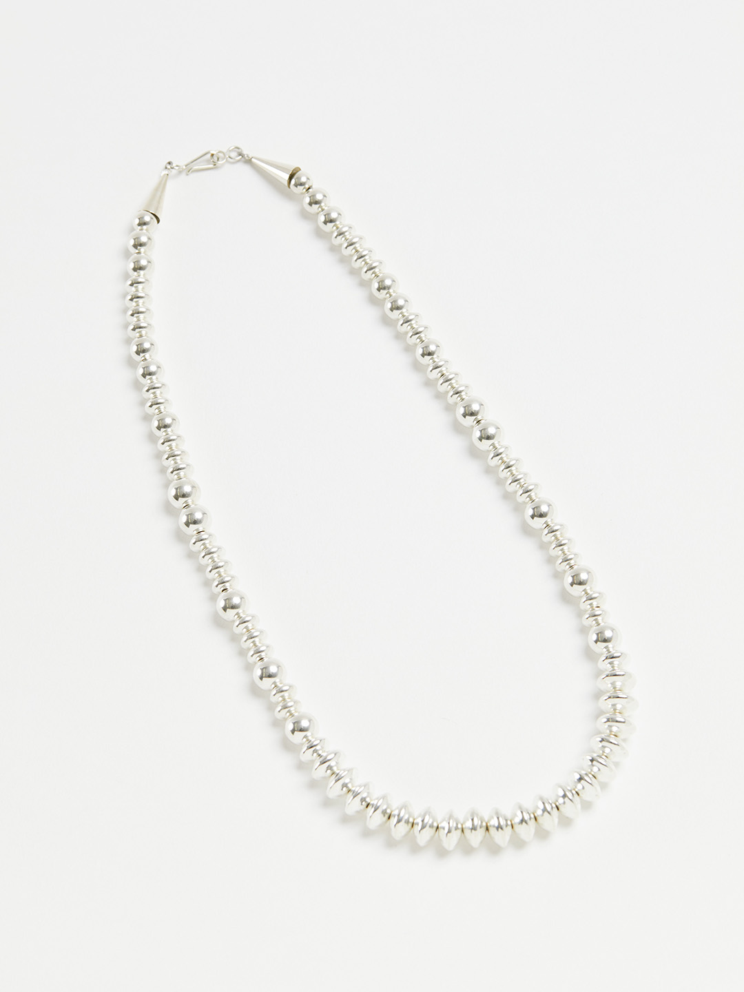 8mm Ball & Disc Chain Necklace - 46cm Silver