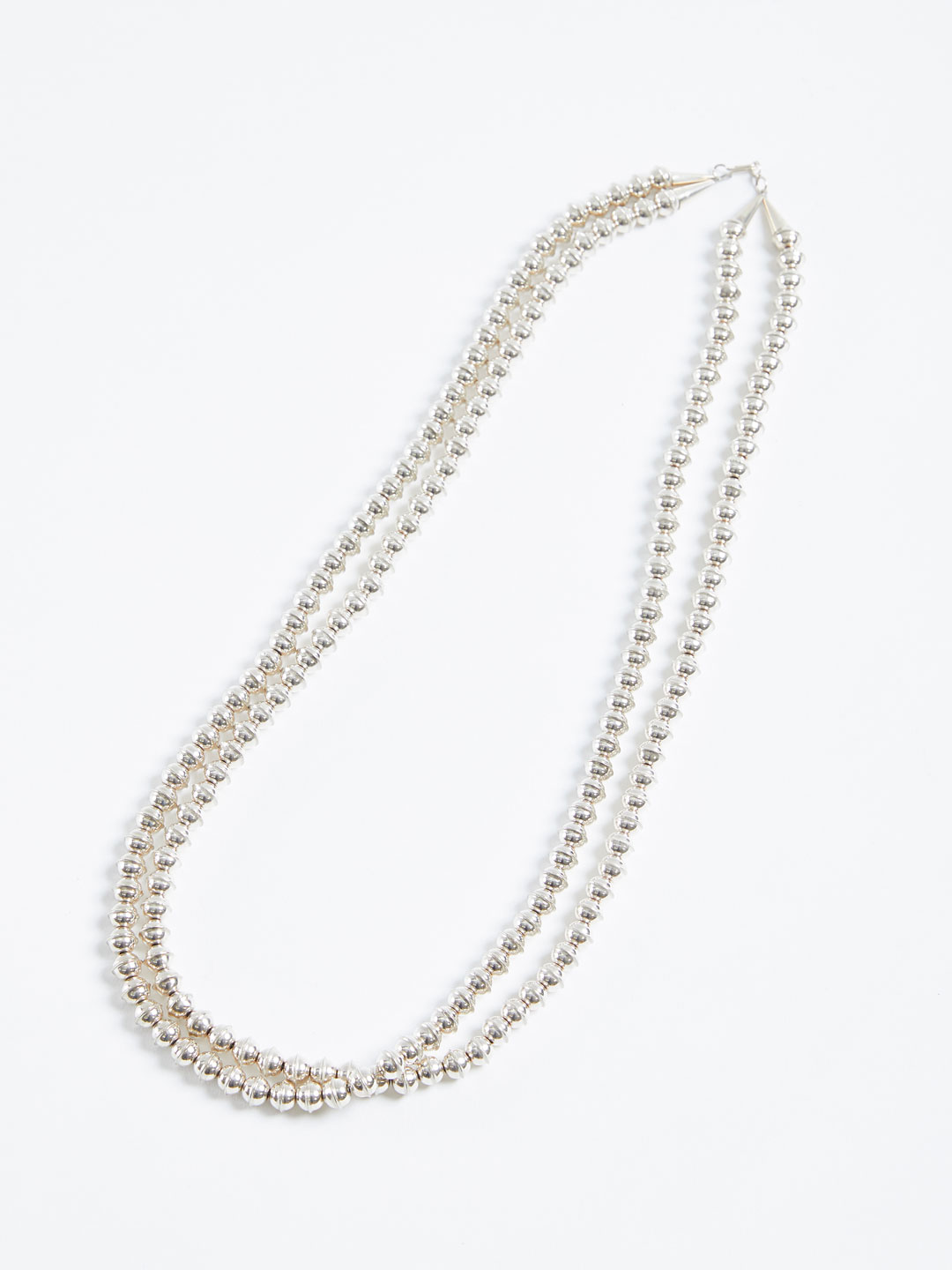 2 Strands 8mm Beads Necklace - Silver