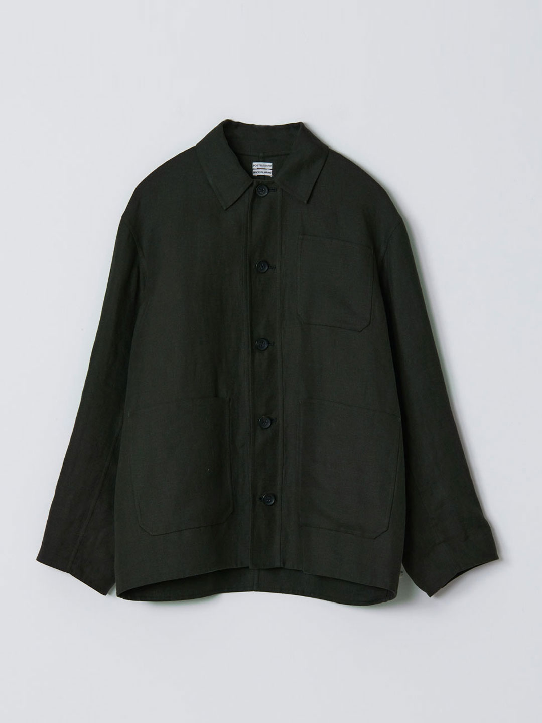 No 0204 Linen Rever Work Jacket - Dark Green