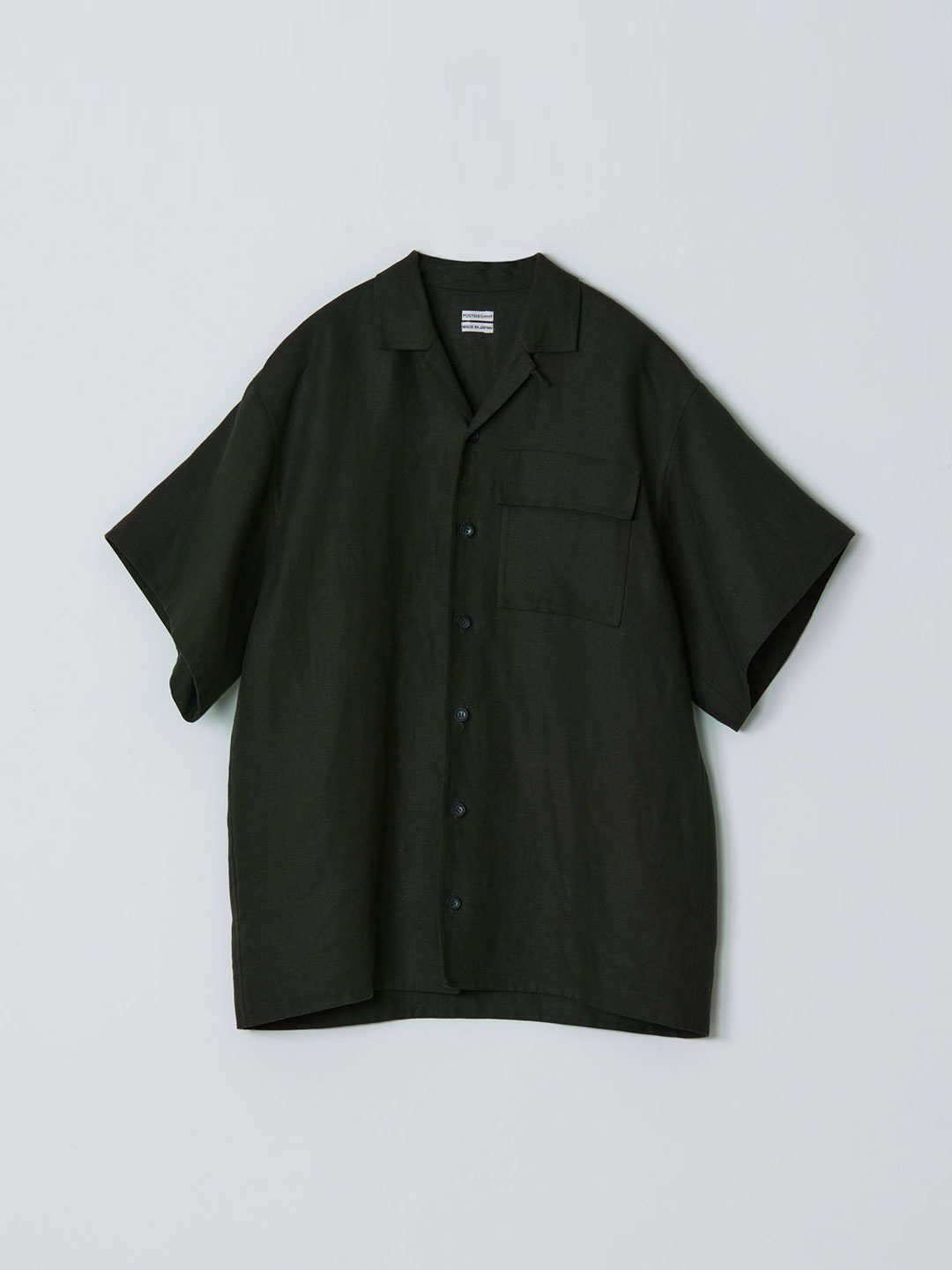 No 0205 Linen Rever Short Sleeve Shirt - Dark Green