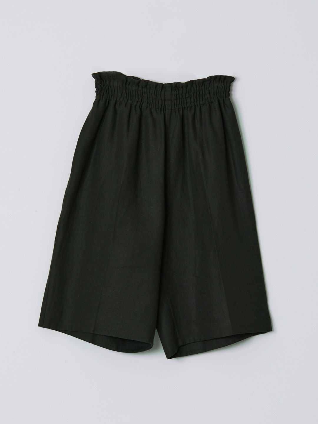 No 0206 Linen Rever Shorts - Dark Green