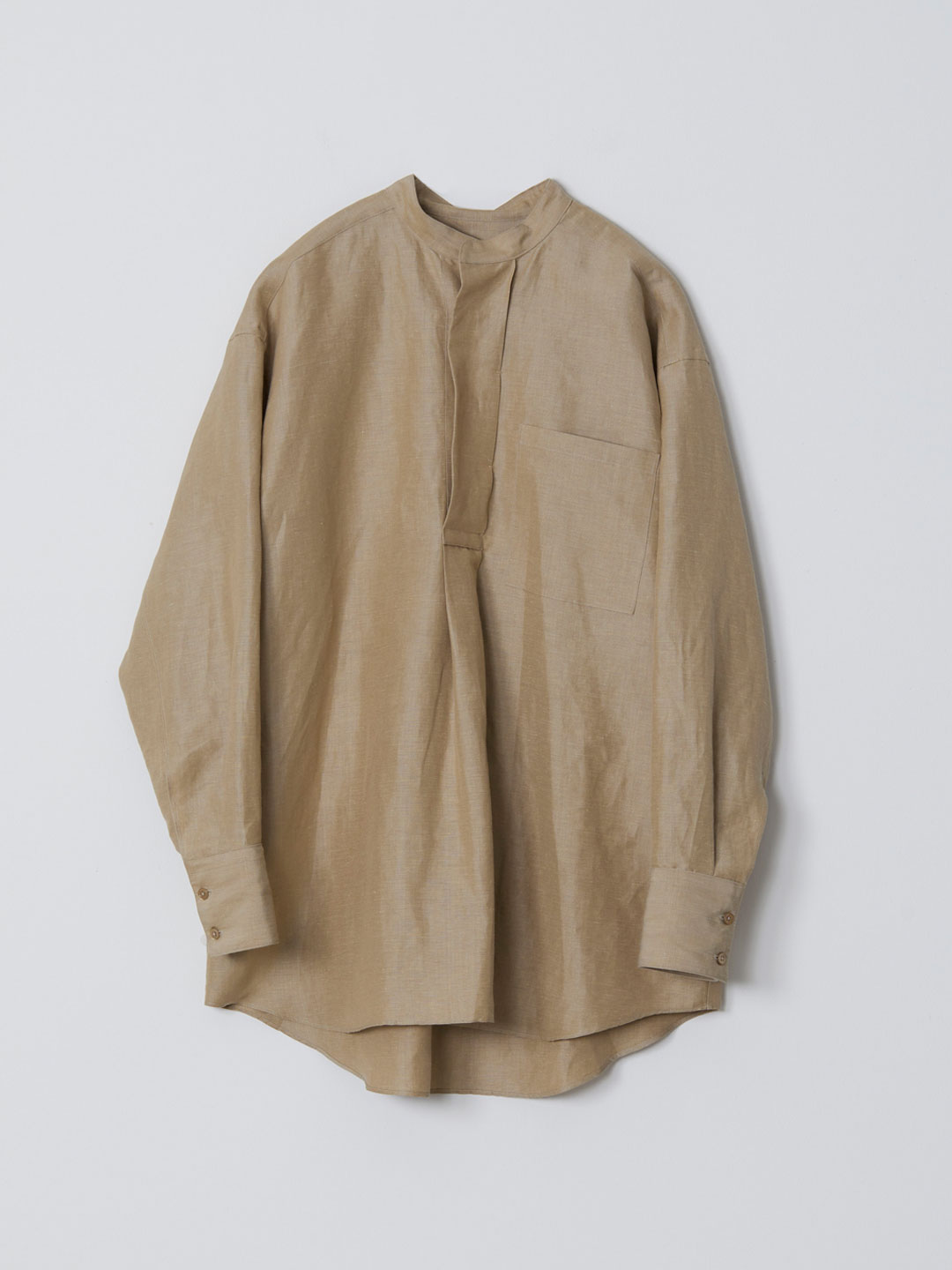 No 0220 Linen Silk Pull-Over Shirt  - Beige