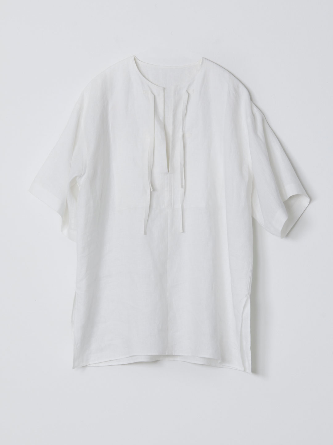 No 0225  Linen Pull-Over Pocket Top - White