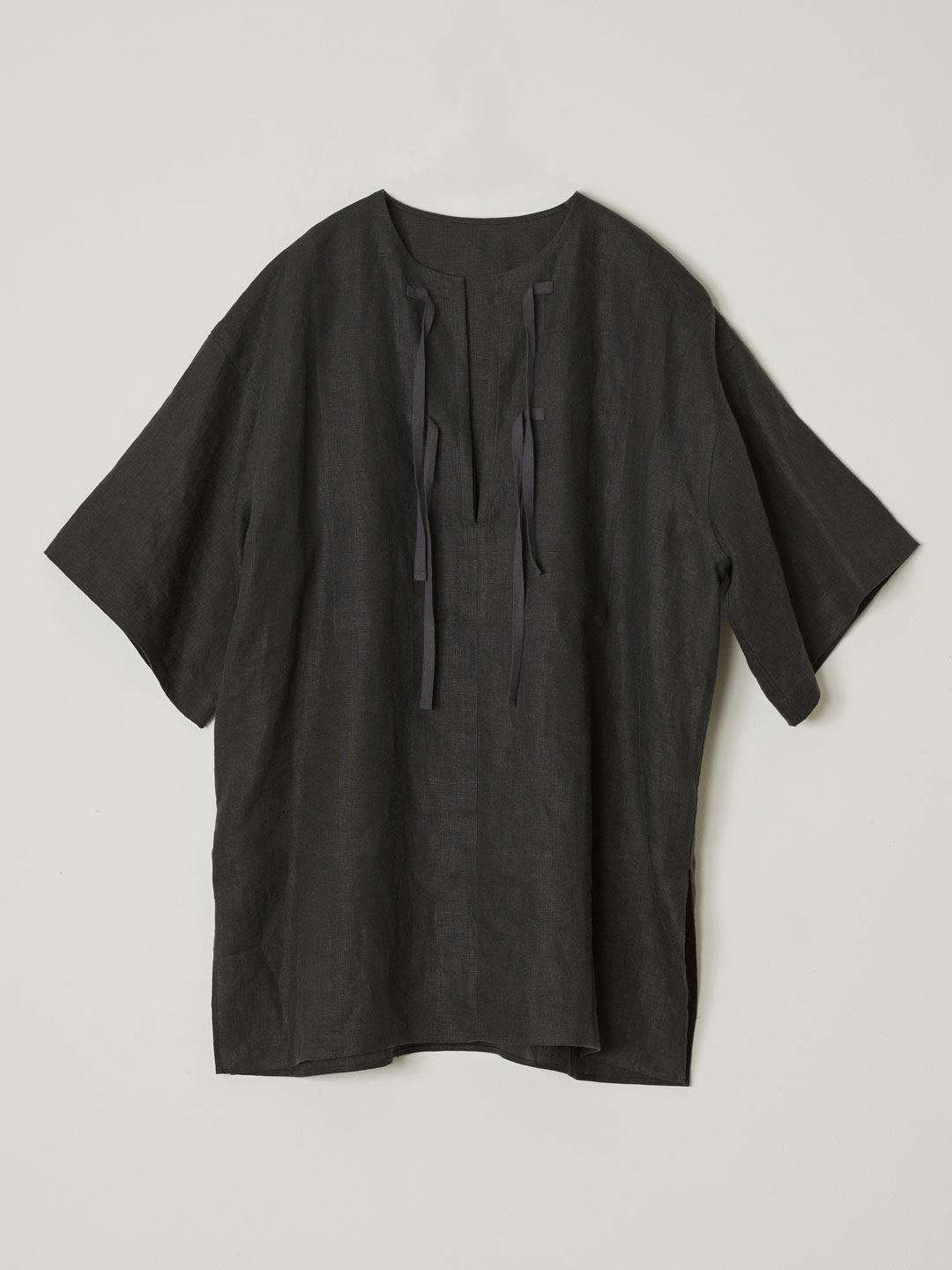 No 0225  Linen Pull-Over Pocket Top - Charcoal Grey