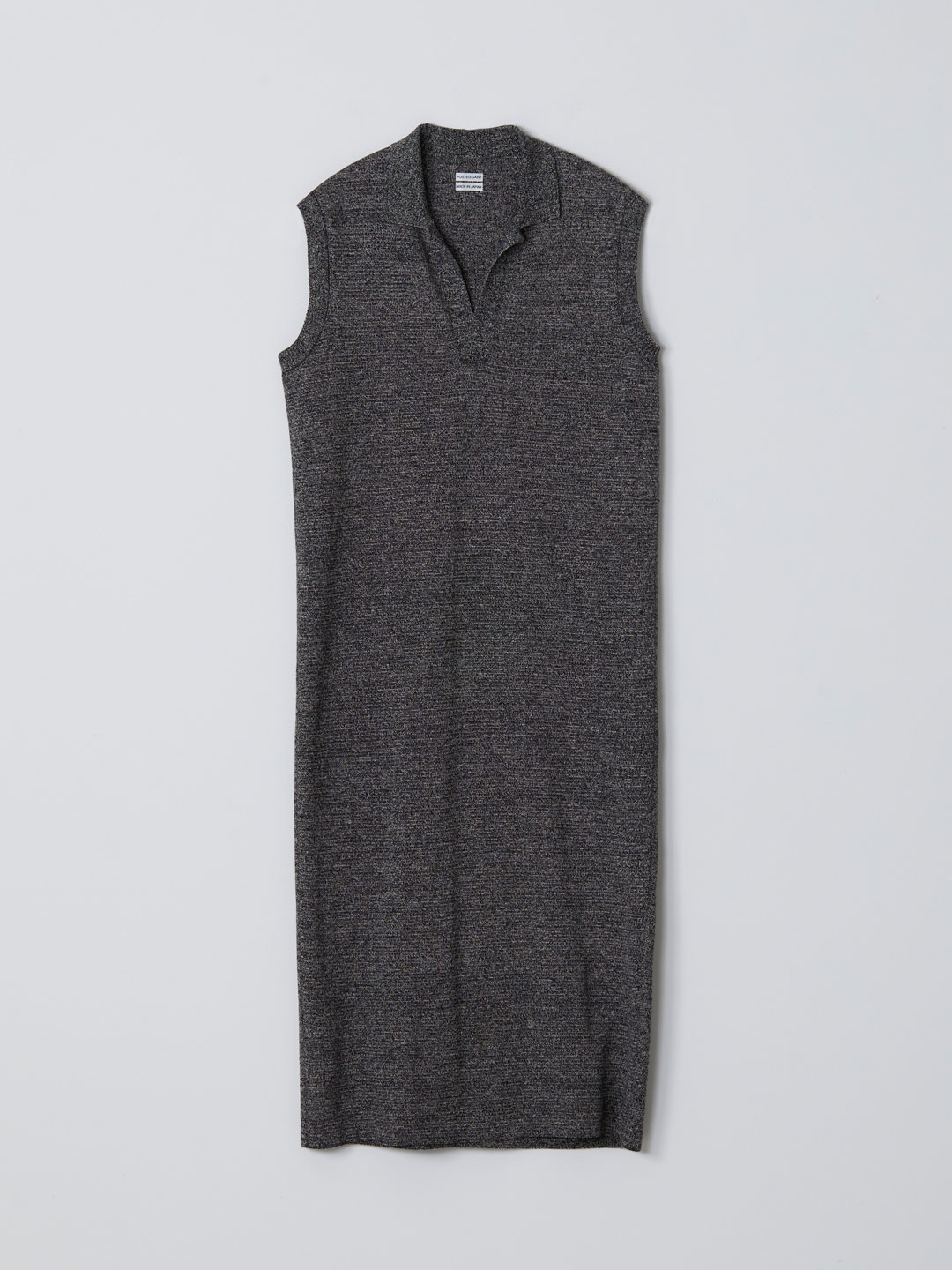 No 0234   Linen Silk Sleeveless Knit Dress - Black