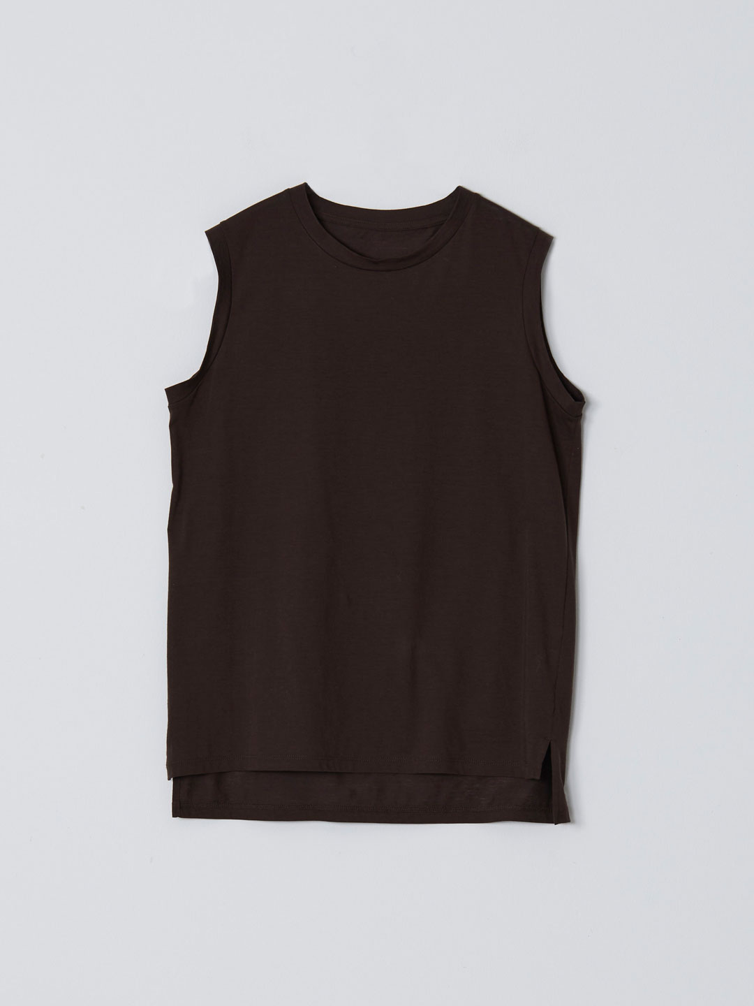 No 0236  High Gauge Cotton Sleeveless Tee - Dark Brown