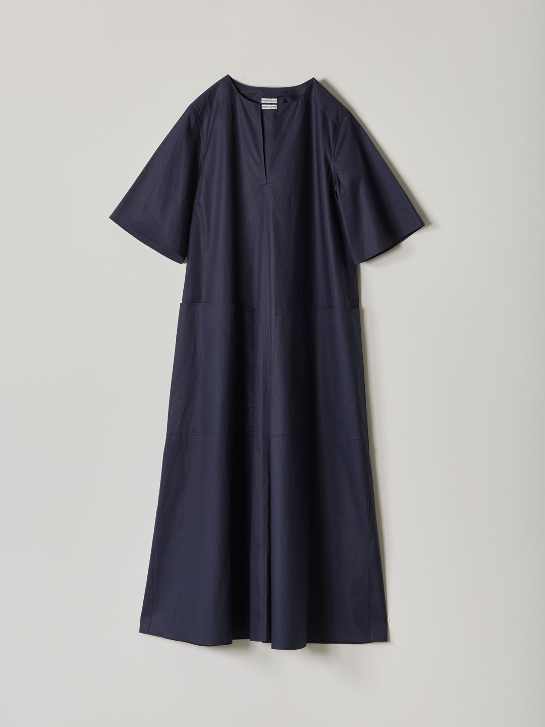 No 0085  Cotton Broad Long Dress - Navy