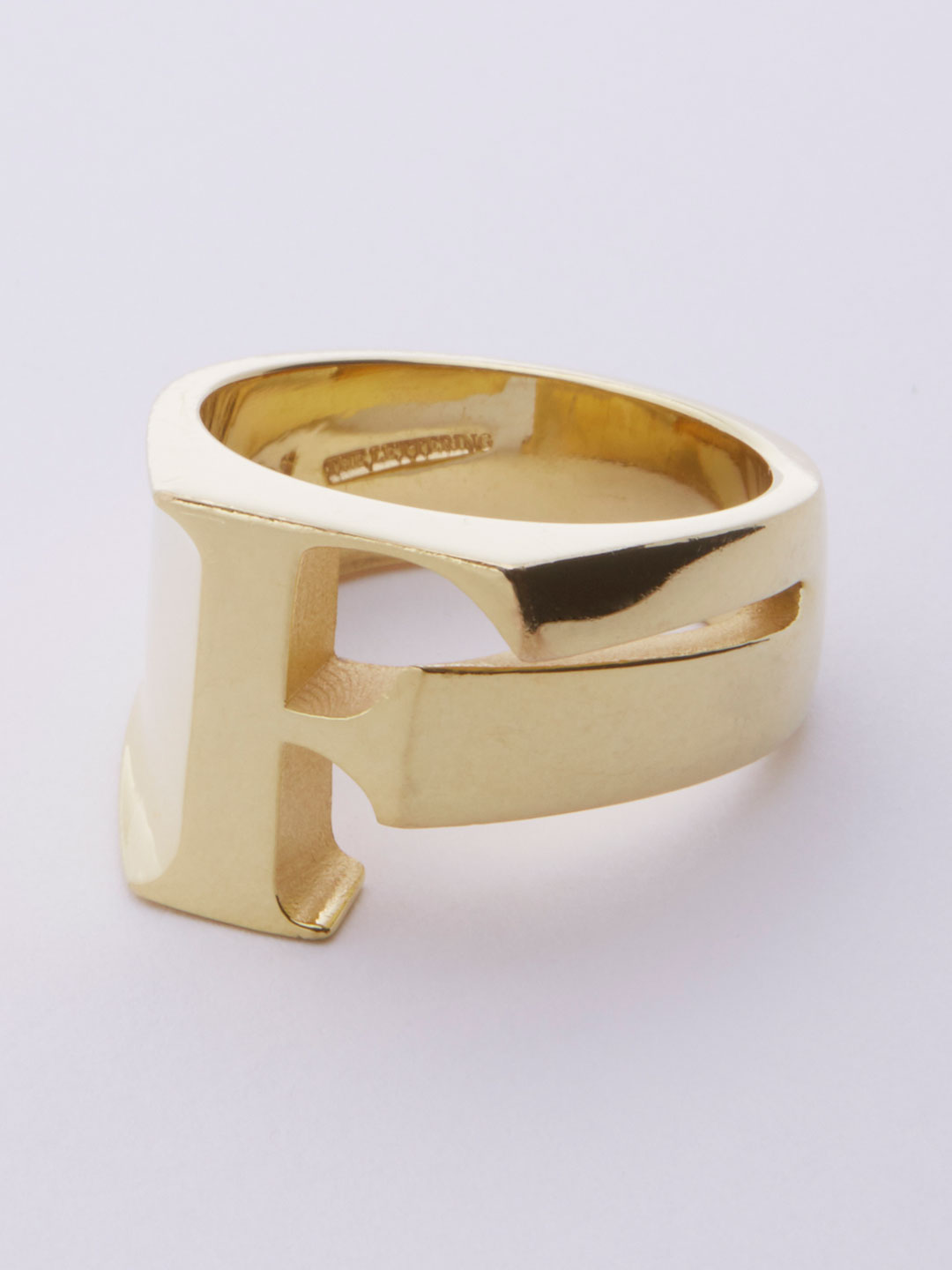 Alphabet Ring F - Gold